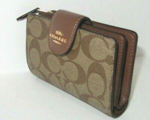 Coach C0082 Signature Medium Corner Zip Wallet Khaki Canvas Saddle Leather NWT