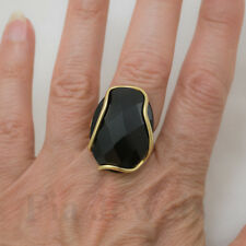 Anello in Oro Giallo 18 kt onice faccettata naturale Solid Gold 18 kt onix Ring