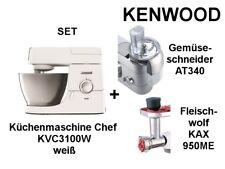 KENWOOD SET Küchenmaschine KVC3100W Chef weiß + AT340 + KAX950ME