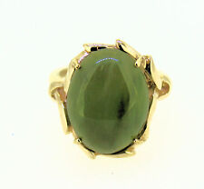 JADE SOLITAIRE RING SOLID 10 K GOLD 4.3 g SIZE 4.5