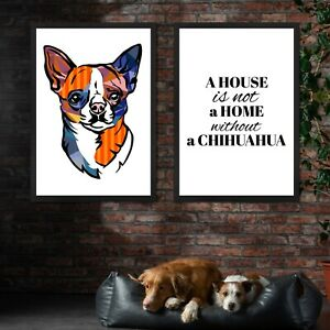 Set of 2 Prints Home Chihuahua Pair Bright Multicolour Dogs Art Print