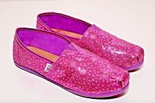 Toms Kids Print Purple Sparkle Flat Comfy Slip On Shoes size Y6 (Youth)