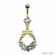 Belly Ring Gold Navel Piercing Pendant Bow White Crystal