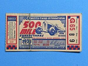 VINTAGE Original 1935 Indianapolis Indy 500 Ticket Stub Auto Racing