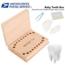 Baby Tooth Box Full Set Wood Milk Teeth Storage Kids Save Souvenir Case Tweezers