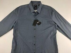 NEW Hugo Boss Ronni Slim Fit Stretch 2XL Green Geometric Dress Shirt Long Sleeve