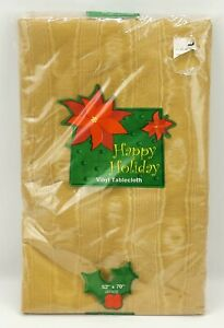 Oblong Vinyl Tablecloth ~ Happy Holidays 52 x 70 inches ~ Golden Brown