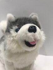 "Siberian Husky Plush Dog Stuffed Animal White Gray Blue Eyes Wideway 12"" Long"