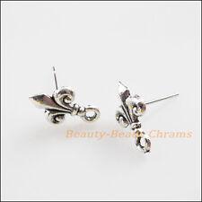 """10Pcs Tibetan Silver Tone """"Fleur de lis"""" Wire Earrings Hooks Findings 9x14mm"""