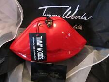 Timmy Woods of Beverly Hills Acacia Wood Red Lips Handbag/Purse New NWT Retired