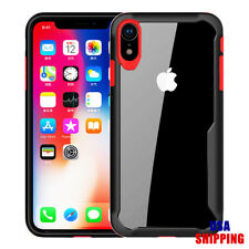 For iPhone X XS Max Phone Case Clear Hard Back Cover Black Bumper Hybrid Cases