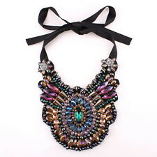 Statement Blak Rope Chain Big Chunky Colorful Crystal Pendant Necklace For Women