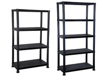 NEW 4/5 TIER BLACK PLASTIC SHELVING UNIT STORAGE GARAGE RACKING SHELF SHELVES