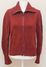 Ann Taylor Cardigan Sweater Large Red Turtleneck Zip Up 100% Cotton Thick Solid