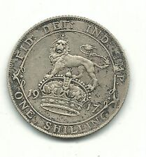 VERY NICE HIGH GRADE 1917 GREAT BRITAIN ONE SHILLING SILVER COIN-MAY149