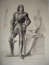 MOYEN AGE / GRAVURE 1840 /ARTHUR DE RICHEMONT
