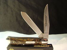 IMPERIAL SCHRADE TRAPPER RED SWIRL CELLULOID KNIFE>IMP16T