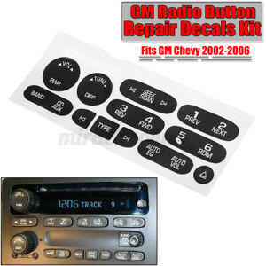 Replacement Radio Button Repair Decals Stickers Fits For GM Chevrolet 2002-2006