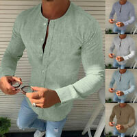 Fashion Men's Driver Solid Round Collar Long Sleeve Shirt Casual Slim Shirt Top