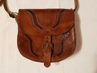 VINTAGE Western Americana Hand Tooled Leather Saddle Cross Body Purse FINAL LIST