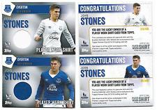 Topps Premier Club 2016 Everton John Stones Player Worn Shirt Cards Home & Away