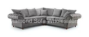 Sofa Windsor Corner, 4 Seater, Armchair,Footstool - Charcoal Grey / Stone Fabric