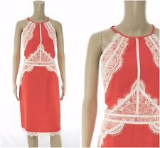 Lipsy Michelle Keegan High Neck Lace Applique Coral Dress size 16