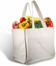 Canvas Grocery Shopping Bags with Bottle Sleeves, Micarsky 100% Organic Cotton C