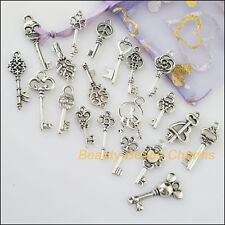 20Pcs Antiqued Silver Tone DIY/ Keys Mixed Charms Pendants