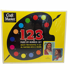 Vintage Craft Master 1,2,3 Paint By Number Kit #K-7 Religious Jesus 1968 NOS