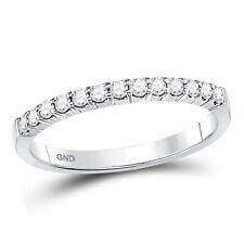 14k White Gold Womens Round Diamond Band Wedding Anniversary Ring 1/4 Ctw