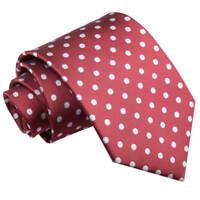 DQT Woven Polka Dot Burgundy Formal Casual Mens Classic Tie