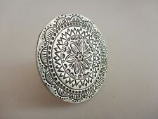 Karen Hill Tribe Adjustable Flower Disc Silver Ring ~ Tribal Belly Dance