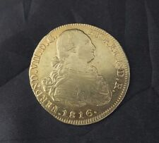 Amazing 8 Escudos Gold Coin minted in Colombia in 1816 - Great condition!