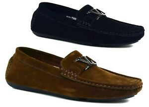 BOYS KIDS FAUX SUEDE LOAFERS FORMAL CASUAL SLIP ON ULTRA COMFORT SHOES SIZE 13-6