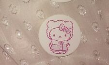 1-3/16in Hello Kitty Sticker BUNDLED UP holly berry fuzzy winter coat & hat