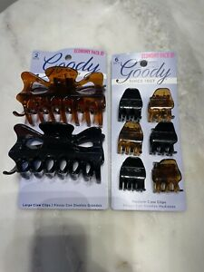 8 Goody Variety of Sizes Claw Hair Clips Plastic Tortoise/Black Medium Large Set