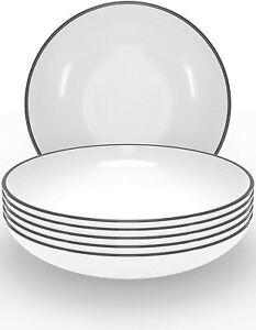 Tiefer Teller für Suppen Pasta Salat 6er Set Scandi Design Keramik weiss 22 cm