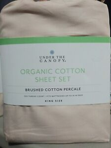 New Under The Canopy King Sheet Set 100% Brushed Organic Cotton Color Blush Pink