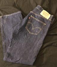 Levi Strauss 501 36W 30L Button Fly Straight Leg DENIM Jeans DISTRESSED 36x30