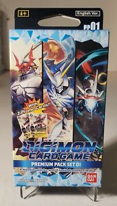 NEW DIGIMON CARD GAME ENGLISH PREMIUM PACK SET 01 INCLUDES 4 BOOSTERS + 2 PROMO