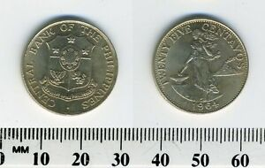 Philippines 1964 - 25 Centavos Copper-Nickel-Zinc Coin - Female standing