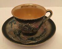 Vintage PIC China Black Dragon Moriage Porcelain Demitasse Tea Cup Saucer Japan