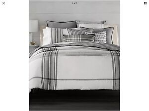 Hotel Collection - Linen Plaid Full/ Queen Duvet White, Gray