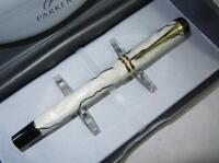 PARKER Duofold Centennial 18k Gold Nib Fountain Pen White Black Pearl Marble 128