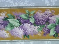 """French Vintage Antique c1920-40 Printed Cotton Lilac Border Fabric~L-46""""X W-7"""""""