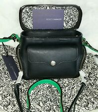 NEW $195 REBECCA MINKOFF Black  Leather Craig Crossbody Camera Handbag w/Green