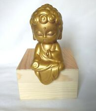Hand Painted Girl Buddha Monk Gold Statue, Lady Buddha, Jizo, Praying Figure