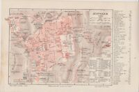 1890 Israel Palestine JERUSALEM Old & New City CITY PLAN Antique Map