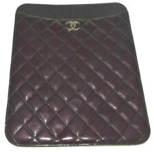 Chanel  Black Patent Leather Front CC Logo I Pad Tablet Holder Hard Case